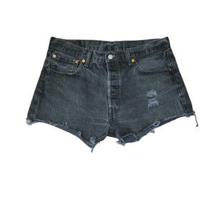 LEVI'S black distressed 501 button fly shorts 34